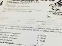 Unione Rugby L'Aquila alla campagna abbonamenti